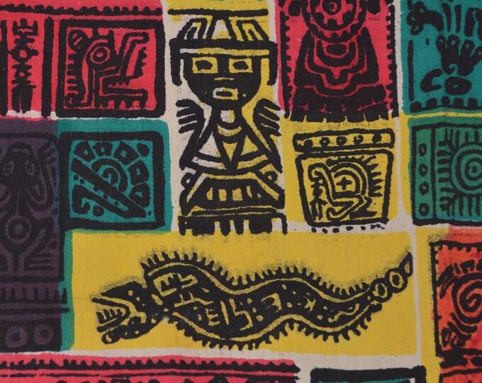Vintage fabric, Mayan Aztec fabric primitive art