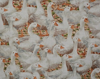 Geese fabric makower fabric farm animals fabric English country fabric