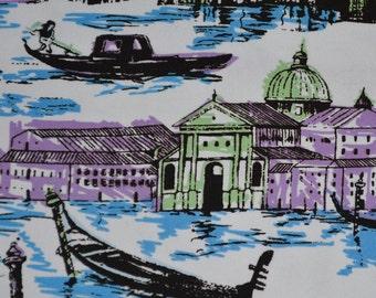 ITALIAN scenic Venice fabric, Venetian canals, two way stretch
