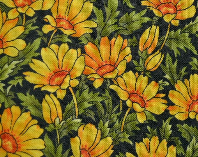 Yellow daisy floral fabric, Hoffman fabric HALF YARD CUT