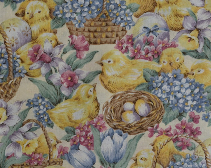 Victorian Easter fabric with baby chicks and Easter eggsx Hoffman fabric