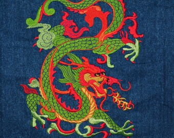 Embroidered dragon large Chinese tatsu dragon Embroidered applique