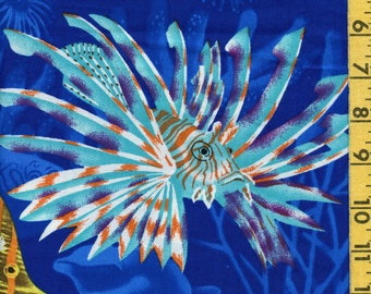 Under the sea fabric, tropical fish under water