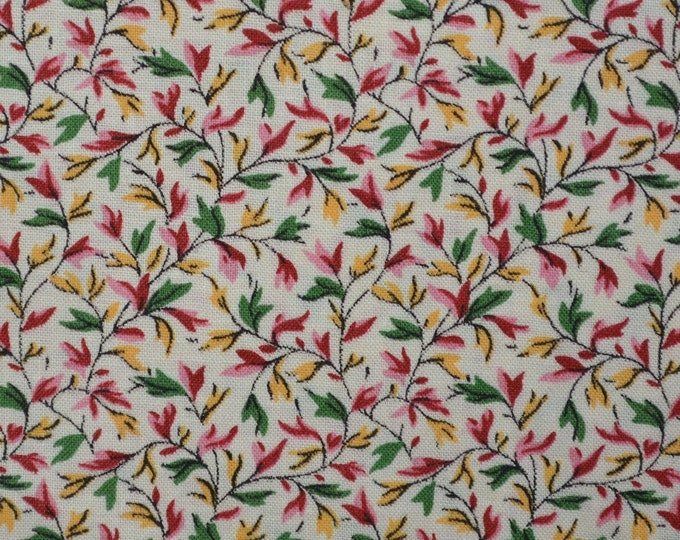 Small print fabric, floral fabric by the yard, flower buds and leaves