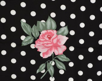 Rayon Floral Polka dot fabric black and white with pink roses extra wide