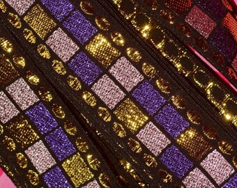Deadstock vintage trim, metallic trim purple gold, geometric trim by the yard