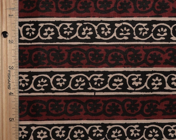 striped fabric Indian block print fabric or African print fabric floral stripe