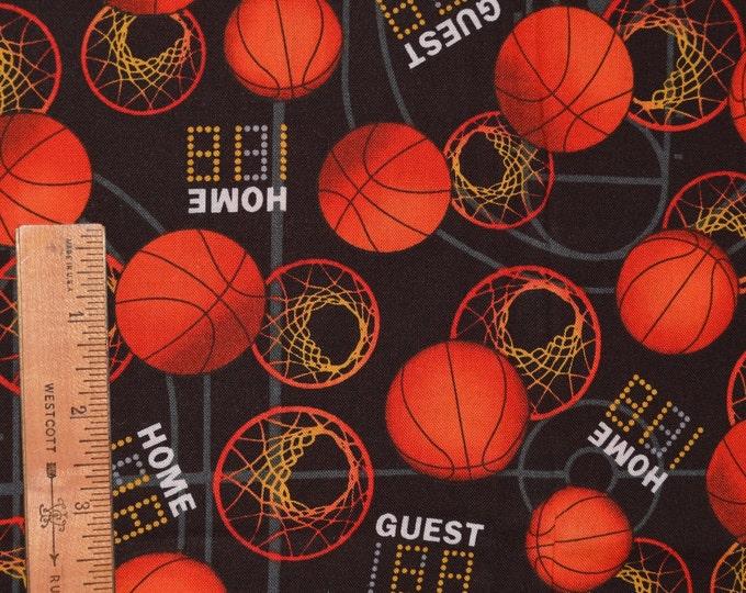 Basketball fabric by the half yard, sports theme fabric David Textiles