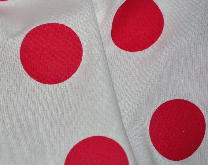 Red white Polka dot fabric large polka dots fabric