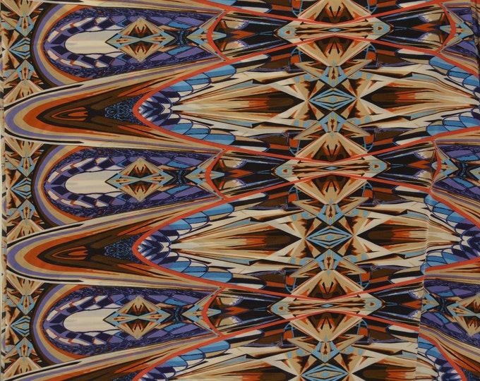 5 yards, Pure Silk fabric, artsy abstract silk chiffon