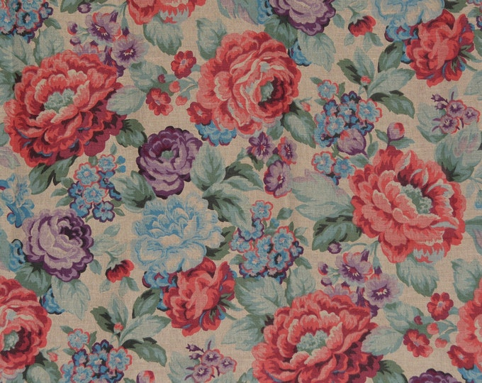 1980s upholstery fabric, floral cabbage rose