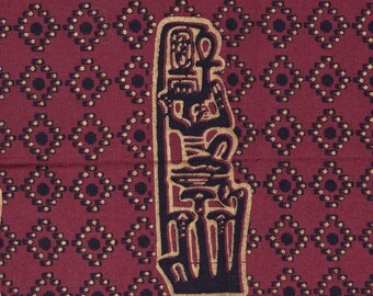 Vintage African fabric, Ankh Egyptian symbol Sotiba As Is