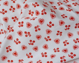 Vintage fabric, Hearts and red flowers fabric by the yard, Leon Rosenblatt