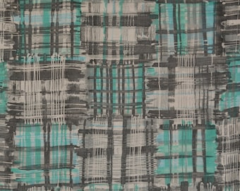 Turquoise grey mod geometric linen upholstery fabric by the yard