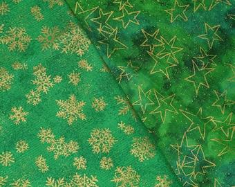 Christmas fabric, snowflakes and Christmas stars