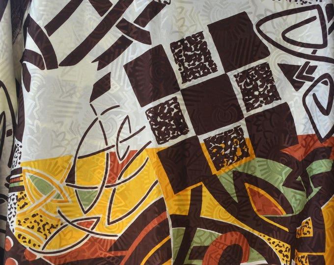 Bold print fabric satin polyester fabric 1970s 1980s Thompson of California