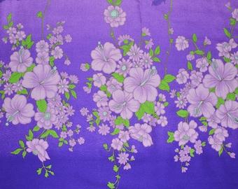 Vintage Hawaii floral fabric, hibiscus flowers border print