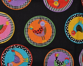 Colorful chicken fabric hen fabric Giggle Feathers