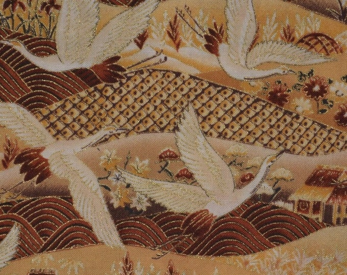 Golden flying cranes Asian fabric by the yard