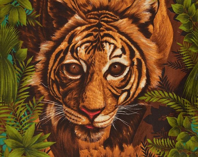 Tiger fabric panel, barkcloth cotton vintage fabric