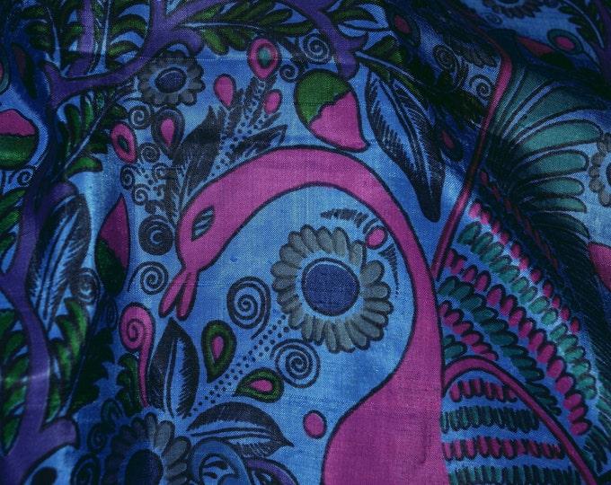 Indonesian Silk fabric, Peacocks botanical, 3 yards