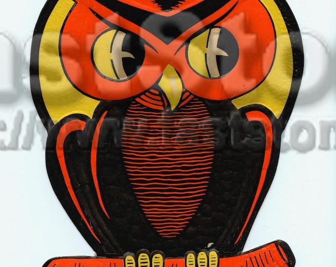 Vintage Halloween card owl, DIY digital downloads