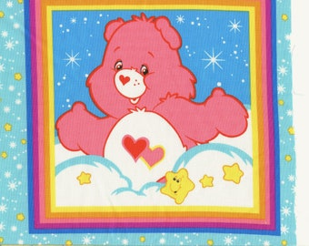 Care Bear fabric with fussy cut squares in rainbow colors