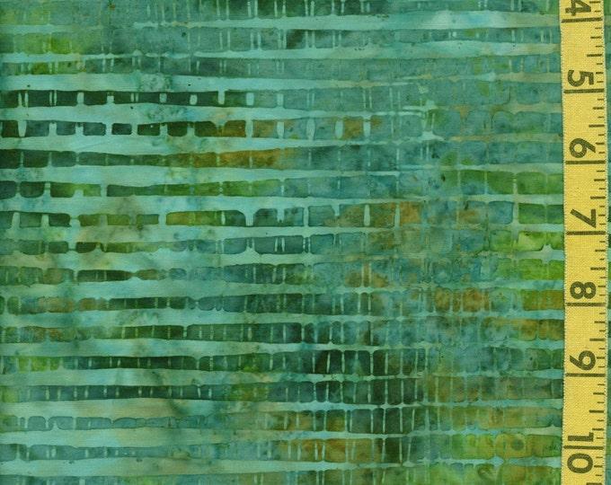 Green teal aqua Batik fabric, Striped geometric