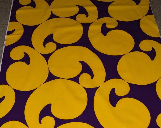 cotton pop art upholstery fabric, 1970s mod groovy 2 yards