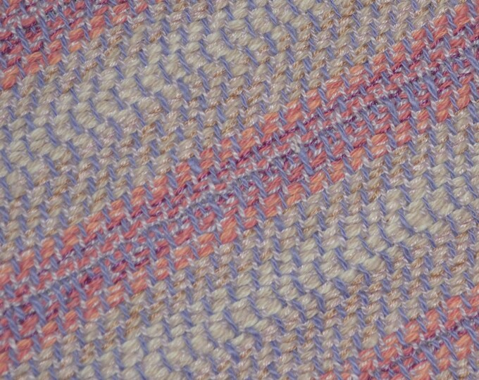 2 plus yards of pink lavender pastel fabric, Handwoven cotton throw or blanket fabric
