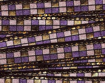 Gold Metallic and purple vintage trim, geometric trim, deadstock