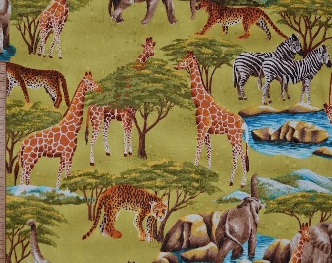 Childrens safari Wild animals fabric by the half yard