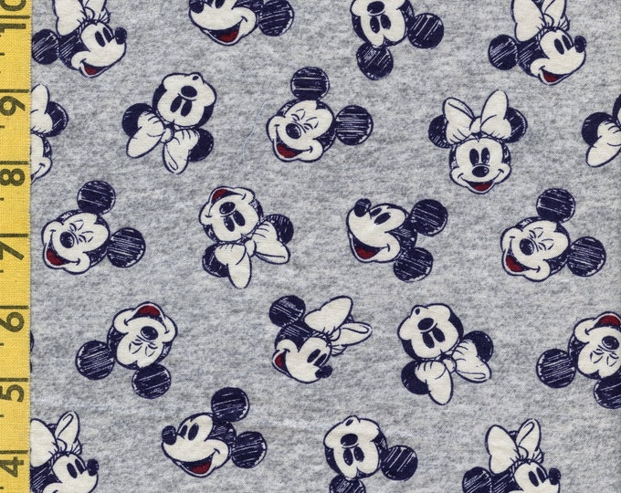 Mickey and Minnie fabric, tossed heads, heather grey and navy