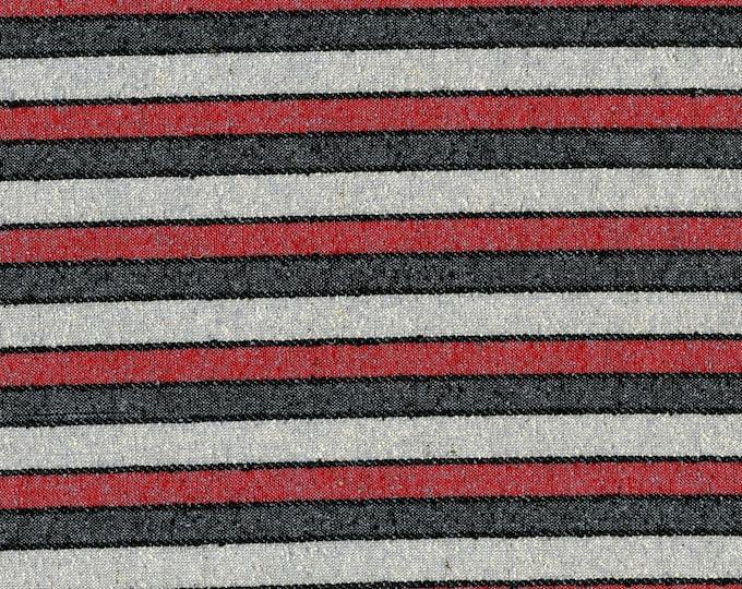 Raw Silk fabric by the yard, striped silk noir fabric, red grey black stripes