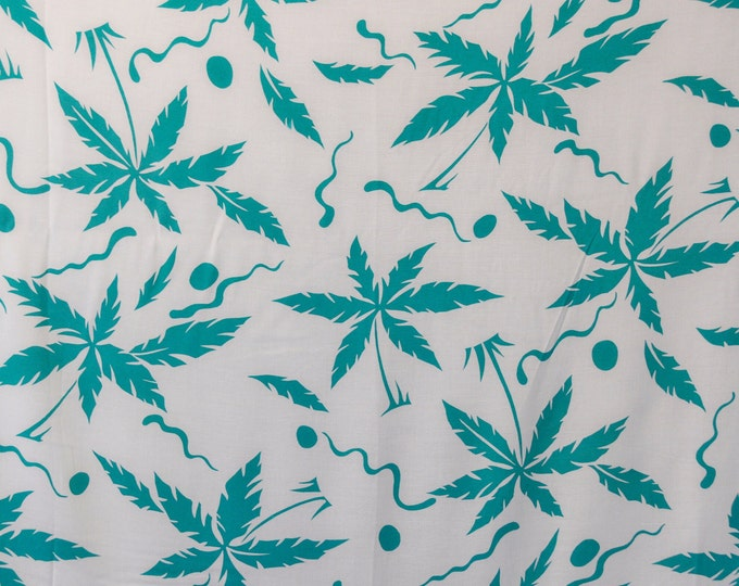 Vintage 1980s or 1990s fabric, palm trees print rayon fabric