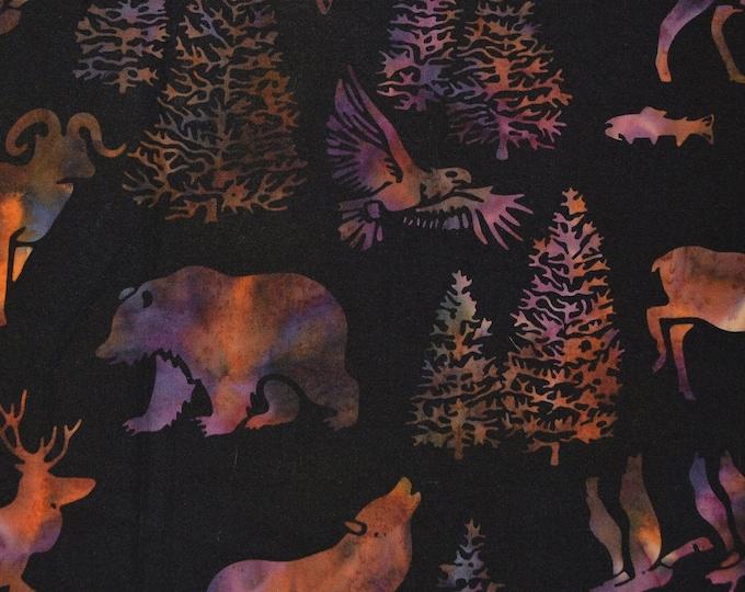 Woodland animals fabric, Batik fabrics