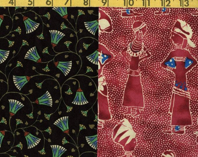 Ethnic African fabric, Egyptian lotus fabric, fat quarters