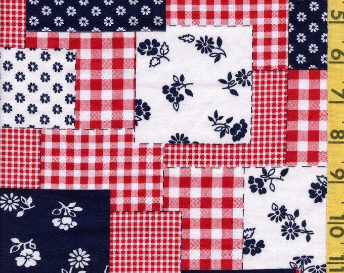 Vintage patriotic cheater fabric, floral patchwork, Schwartz Liebman