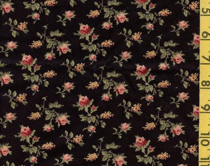 Black floral fabric, colonial prairie Faye Burgos