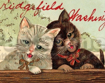 Antique Victorian Cat postcard for cardmaking, scrapbooking, download image JPG and PNG