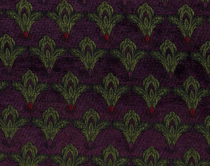 Fleur de lis upholstery fabric, Chenille brocade jacquard DIY interiors pillows