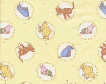 Winnie the Pooh fabric, Classic Pooh, pastel yellow nursery by the yard