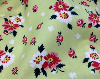 Denyse Schmidt fabric quilt fabric cotton retro feedsack floral fabric Sweet Ruby dress fabric pink floral daisies farmhouse fabric daisy
