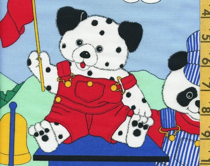 Baby boy train nursery Fabric panel, panda bears, Sandy Small Wonder