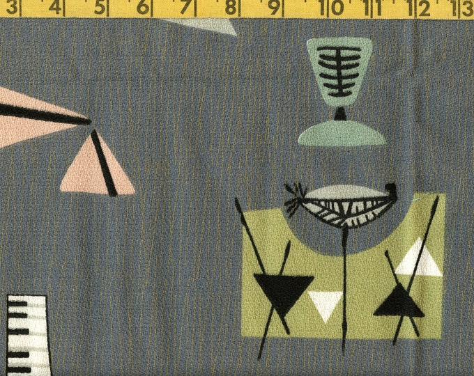 Atomic space age Chris Stone barkcloth fabric remnants Mambo grey
