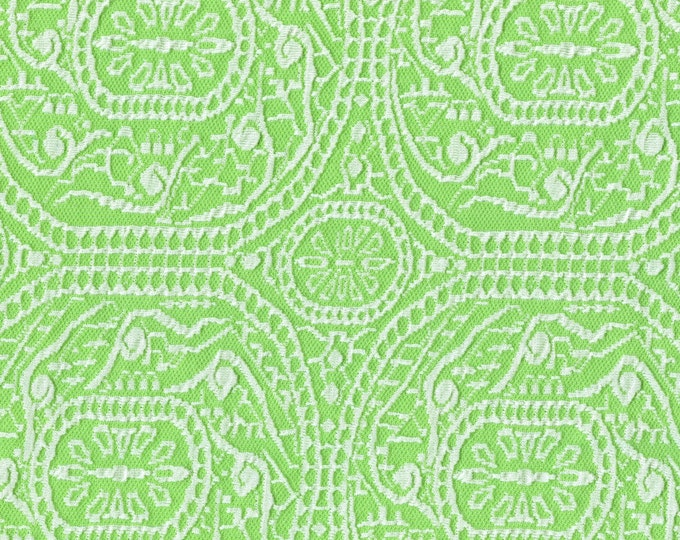 1970s vintage double knit fabric, Ornamental design in lime green and white