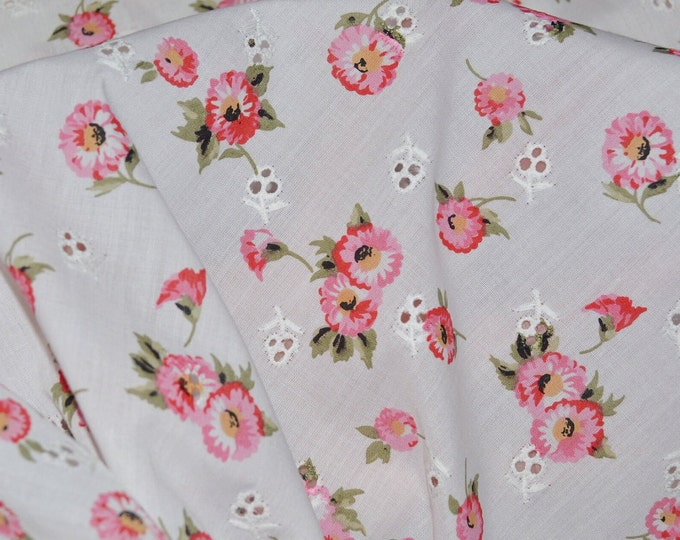 Floral Eyelet fabric, pink daisy flowers