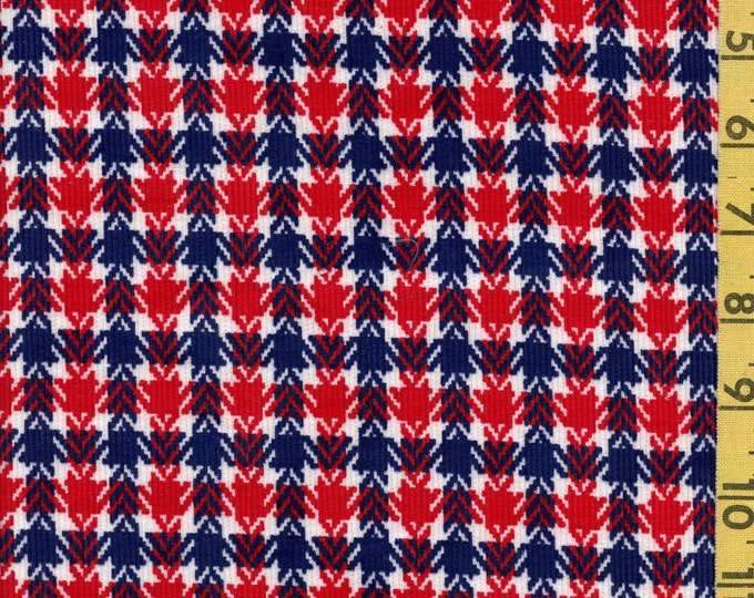 Vintage corduroy plaid houndstooth fabric, retro red white and blue