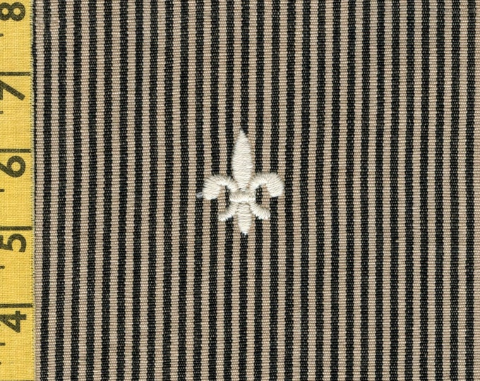 Upholstery fabric Embroidered fleur de lis striped fabric deconstructed