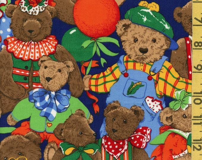 Vintage Teddy Bear fabric, bears in dress up, Cranston Print Works